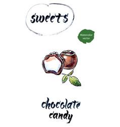 chocolate candies watercolor vector image