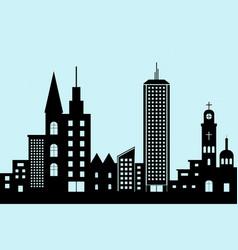 cityscape black architectural building icon vector image