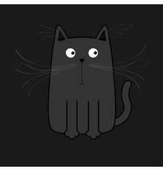 Cute black cartoon cat Big mustache whisker Funny vector image vector image