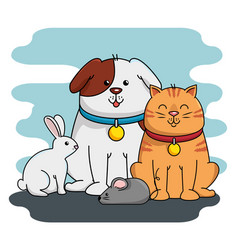 group mascots pet shop vector image vector image