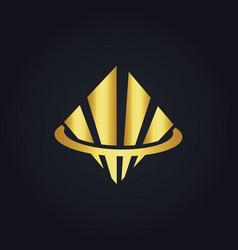 square shape business finance gold logo vector image vector image