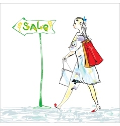 Woman and shopping vector