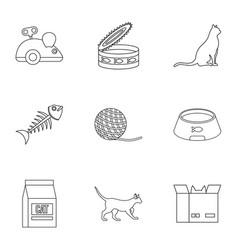 cat house icons set outline style vector image