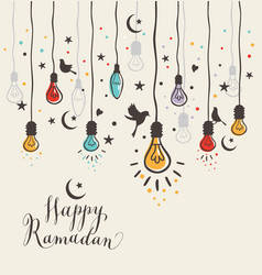 greeting card ramadan kareem design with lamps and vector image vector image