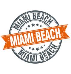 Miami beach red round grunge vintage ribbon stamp vector