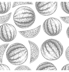 Seamless watermelon pattern Fresh fruit skech vector image vector image