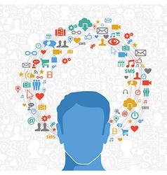 Social media man in action vector image vector image