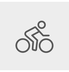 Sport bike and rider thin line icon vector image