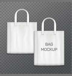 white realistic shoping bag template isolated on vector image vector image