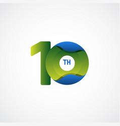 10 th anniversary celebrations green blue vector