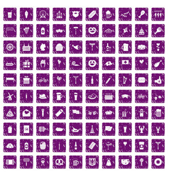 100 beer party icons set grunge purple vector