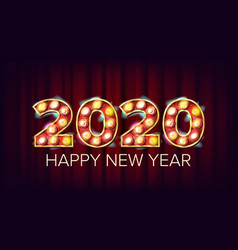 2020 happy new year marquee light vector image