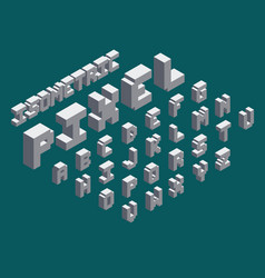 3d isometric pixel font set vector image