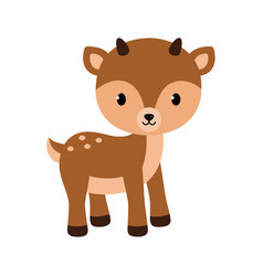 Adorable little deer in flat vector
