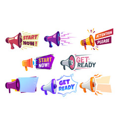 advertising banners with megaphone get ready vector image