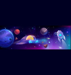 alien flying in space ship futuristic technology vector image