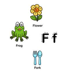 Alphabet letter f-flower frog fork vector