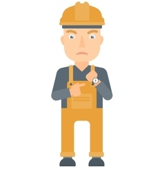 Angry constructor pointing at wrist watch vector