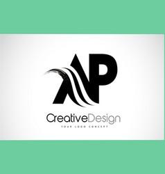 Ap a p creative brush black letters design vector