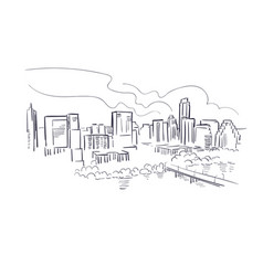 Austin texas usa america sketch city line art vector