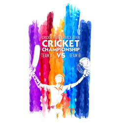 Batsman playing cricket championship sports vector