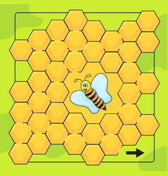 Bee and honeycomb game for preschool children vector