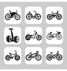 bicycles icon set vector image