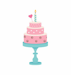 birthday cake with candle and heart vector image
