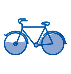 blue shading silhouette of tourist bicycle icon vector image