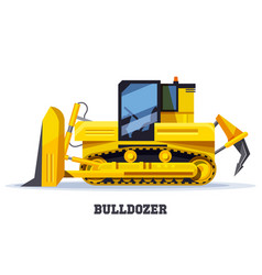 bulldozer digger or tractor in flat yellow truck vector image