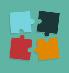 business puzzle pieces put together on green vector image