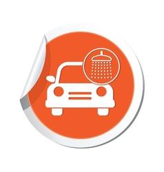 car wash icon orange label vector image