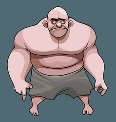 Cartoon frustrated big bald man with naked torso vector