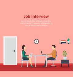 cartoon job interview office scene concept vector image