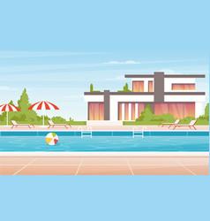 cartoon no people luxury spa poolside with vector image