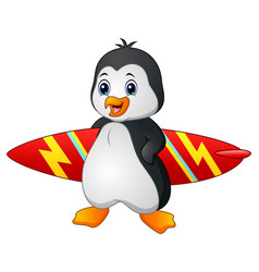 Cartoon penguin holding surfboard vector