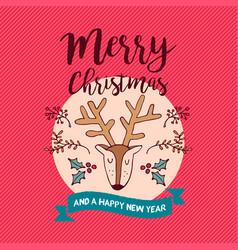 christmas and new year deer holiday cartoon card vector image