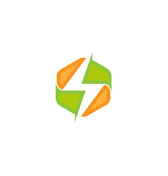 colorful hexagon thunderbolt power logo vector image