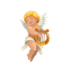 Cupid winged boy playing on harp isolated vector