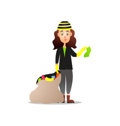 Cute modern girl collect garbage in plastic sack vector