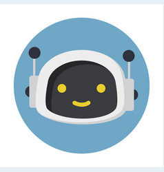 Cute robot face icon flat style cartoon character vector