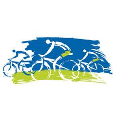 cyclists biking outdoors vector image