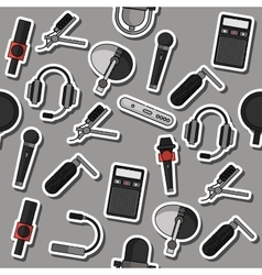 Different microphones types collage vector image