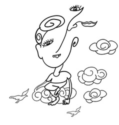 Doodle drawing of surreal man sitting on cloud vector