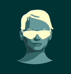 Face of young woman in sunglasses vector