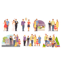 family large set vector image