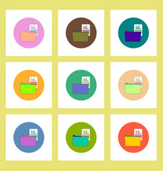 flat icons set of file and folder concept on vector image
