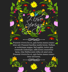 floral poster for spring greeting design vector image