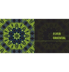 Flyer in Green Abstract Retro Ornate Mandala vector image