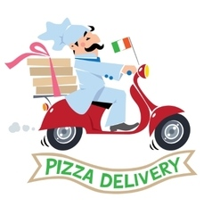 Funny pizza chef on scooter pizza delivery logo vector